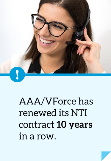 AAA/VForce has renewed its NTI contract 10 years in a row.